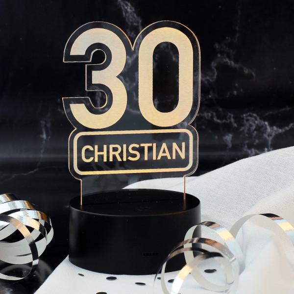 7 Farben LED-Lampe zum 30. Geburtstag mit Name