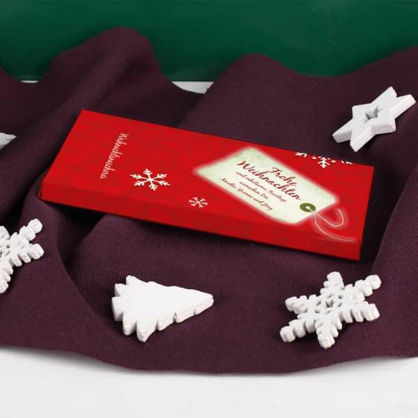 Personalisierte Schokolade 100g Tafel mit personalisierter Verpackung zu Weihnachten
