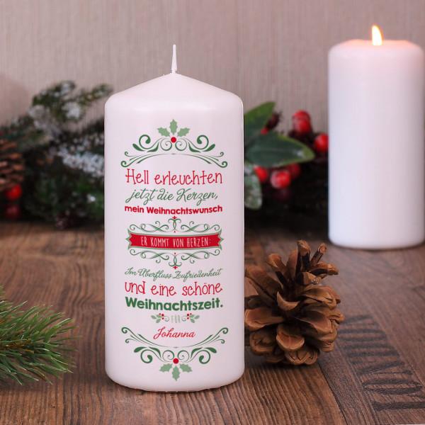 Kerze mit Weihnachtswunsch und Ihrem Namen