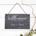 Schiefertafel zur Hochzeit mit Namen und Datum bedruckt