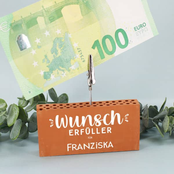 Wunscherfüller - Ziegelstein Geldclip als Geldgeschenk