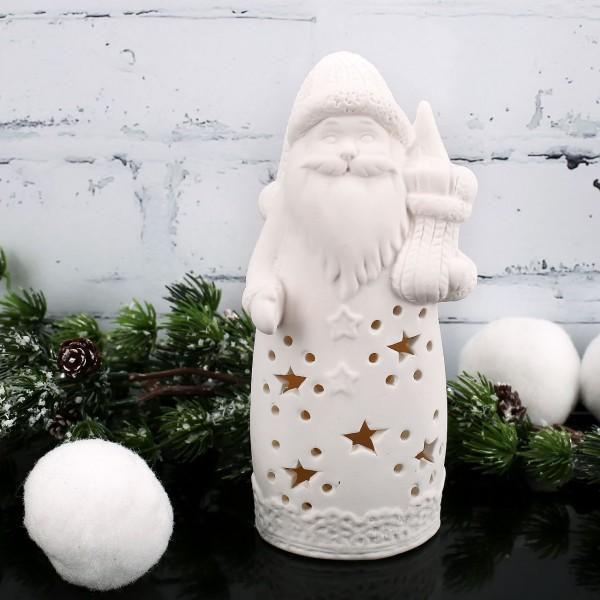 LED Keramik Weihnachtsmann mit Geschenksack