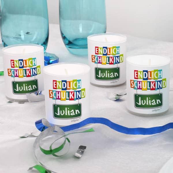 Endlich Schulkind Teelichter im 4er Set mit Namensaufdruck