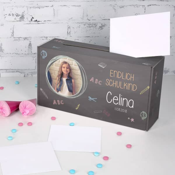 Briefbox zur Einschulung mit Foto und Namensaufdruck