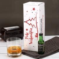 weihnachtliche Pappbox mit Ardbeg Mini Flasche und graviertem Whiskyglas