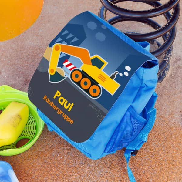 Kinderrucksack mit Bagger, Name und Wunschzeile