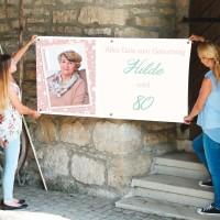 Personalisiertes Banner zum Geburtstag mit Foto, Name und Alter