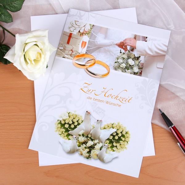 Große Hochzeitskarte im klassischen Design