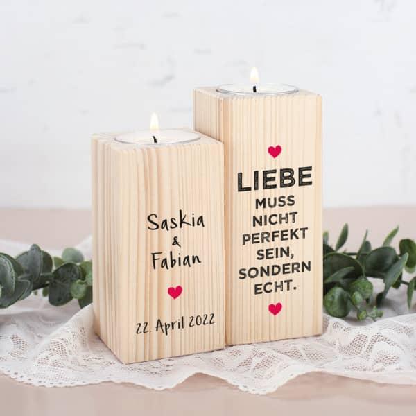 Liebe muss echt sein - Kerzenhalter aus Holz mit Namen und Datum