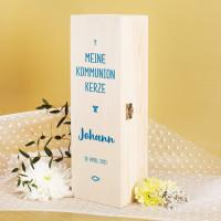 Geschenkbox für Kommunionkerzen - mit Name und Datum in drei Farben zur Auswahl