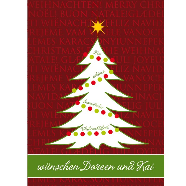 postkarte weihanchtskarte mit weihnachtsbaum und spruch. Black Bedroom Furniture Sets. Home Design Ideas