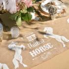 Deko-Tischläufer aus Bast mit Pferdemotiv