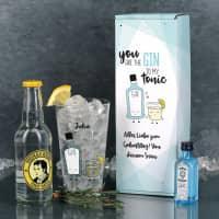 Gin Tonic Geschenkset mit Glas, Mini Bombay und Thomas Henry Tonic