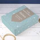 XL-Geschenkverpackung mit Schneeflocken, Name und Wunschtext