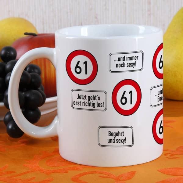 Kaffeetasse als Geschenk zum 61. Geburtstag
