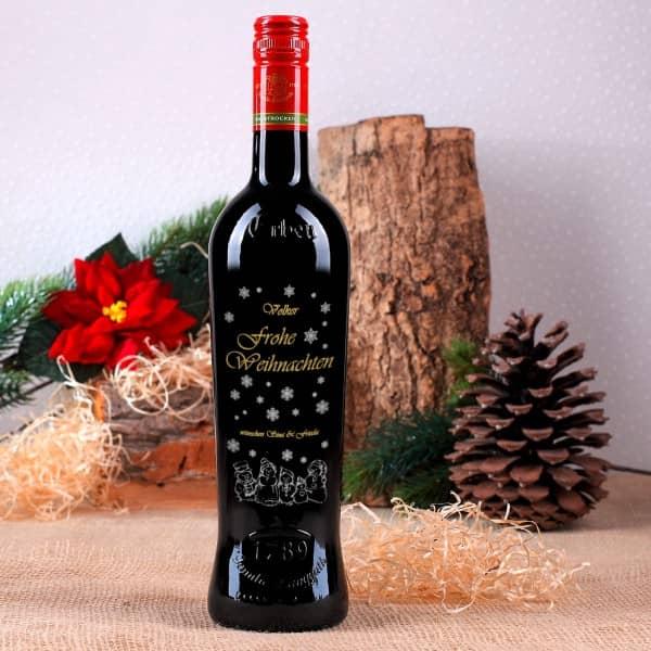 Weinflasche zweifarbig veredelt mit persönlicher Gravur