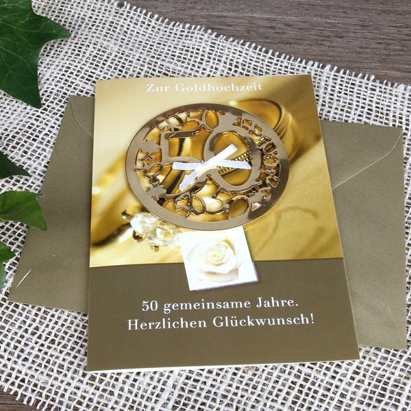 Grußkarte mit Metall Schmuck zur Goldhochzeit