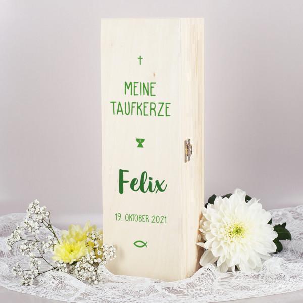 Verpackung Taufkerze - Holzbox mit Name und Datum in grün