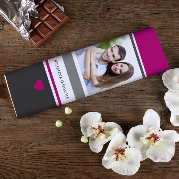 300g Schokolade mit Foto und Namen des Paares