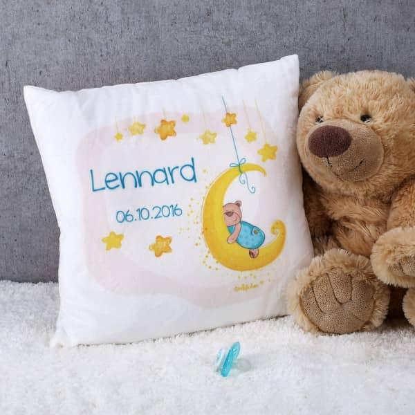 Samtweiches Kuschelkissen zur Geburt mit süßem Teddymotiv