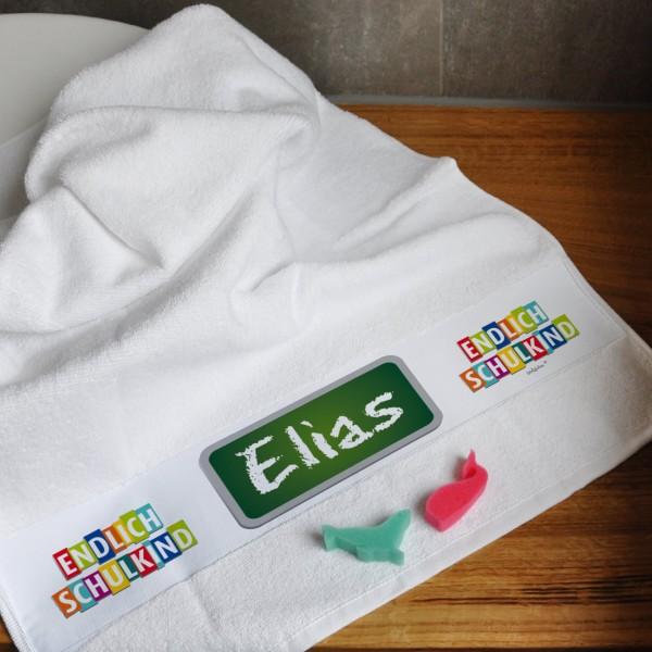 Individuellbadzubehör - Endlich Schulkind! weißes Handtuch mit Name - Onlineshop Geschenke online.de