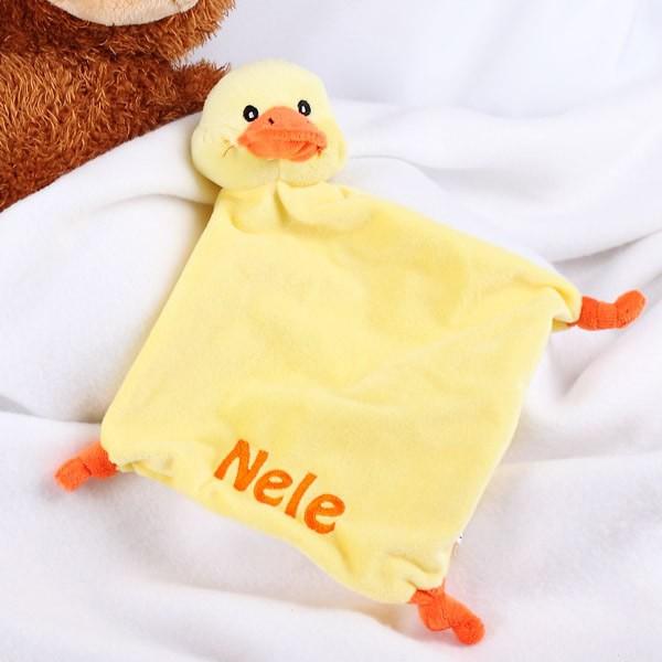 Schnuffeltuch Ente mit Namen bestickt