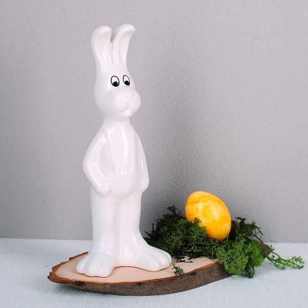 Keramik Osterhase in weiß