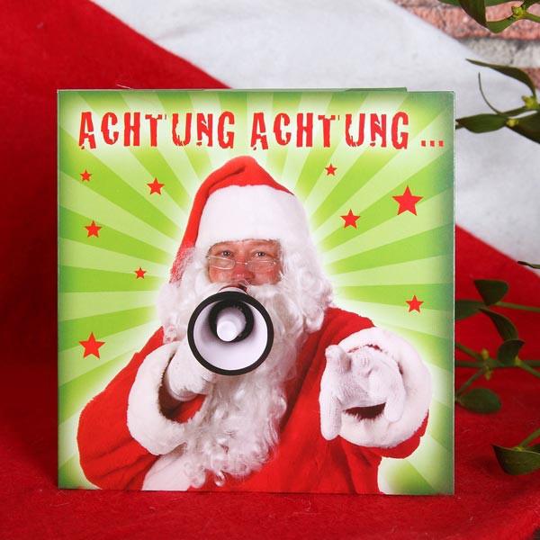 Weihnachtskarte zum selbst Besprechen Achtung Achtung