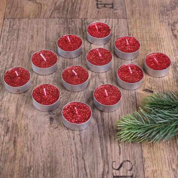 Teelichter in Rot und mit Glitter