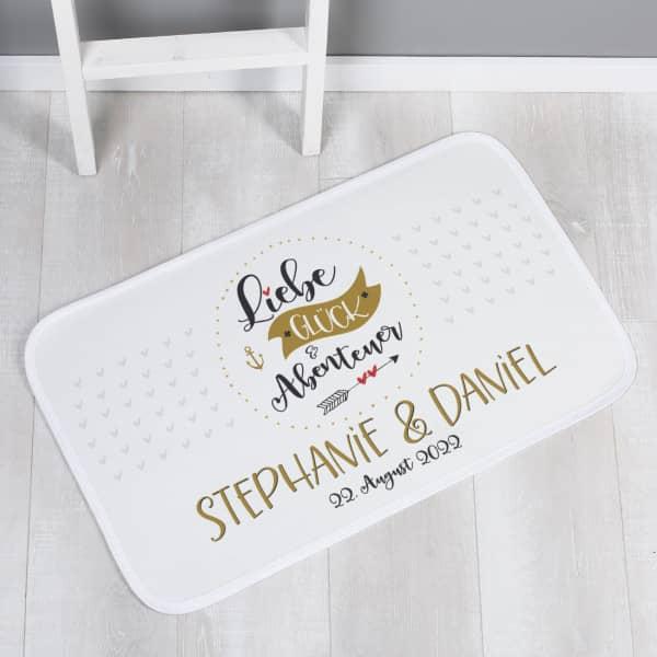 Liebe, Glück & Abenteuer - Badematte zur Hochzeit