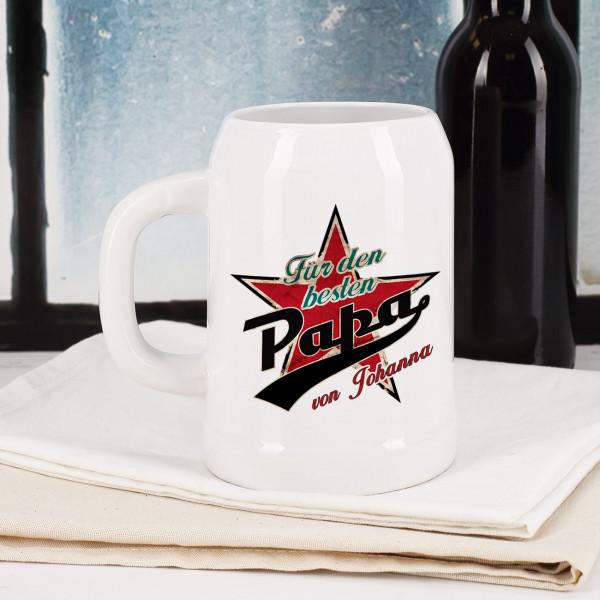 Bierkrug 0,5 Liter aus Keramik für den besten Papa mit Stern und Wunschname bedruckt