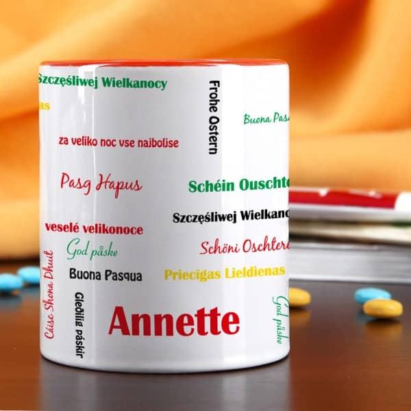Tasse mit roten Henkel zu Ostern mit Wunschnamen