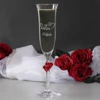 graviertes Sektglas L'Amour Be my Valentine mit Wunschname