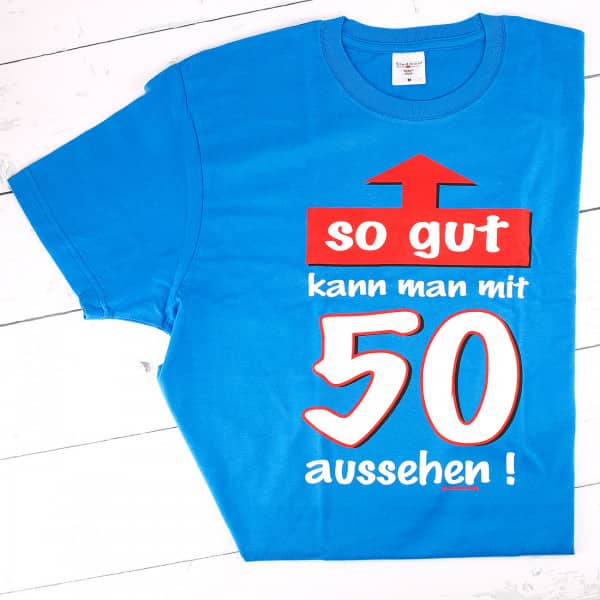 T-Shirt in blau zum 50.
