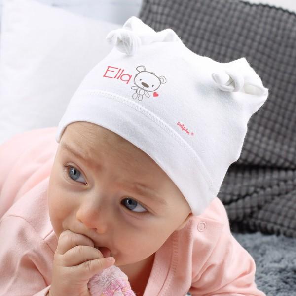 Weiße Zipfelmütze für Mädchen mit Namensaufdruck