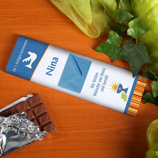 Große Tafel Schokolade mit Umschlag als Geldgeschenk zur Kommunion