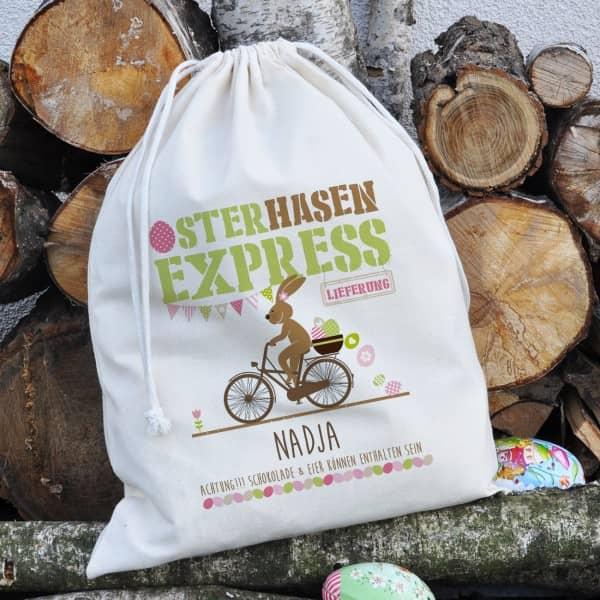 Geschenksack vom Osterhasen Express mit Ihrem Namen bedruckt, 40 x 50 cm