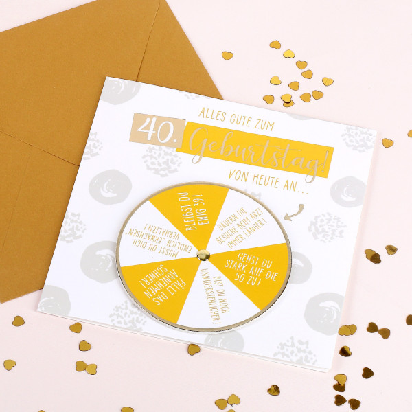 Glückwunschkarte mit Drehkarte zum 40. Geburtstag
