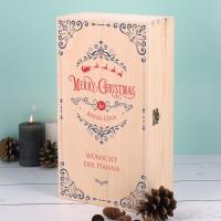 Merry Christmas - weihnachtliche Holzbox mit persönlichem Druck