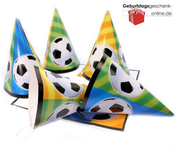 Fussballfieber Partyhüte 8 x Spass für Kids!