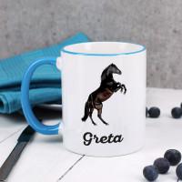 Tasse mit schwarzem Hengst und Name