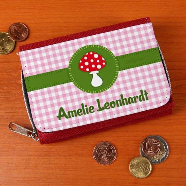 Geldbörse mit Glückspilz und Wunschnamen