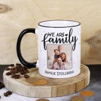 We are family - Fototasse mit Ihrem Wunschtext