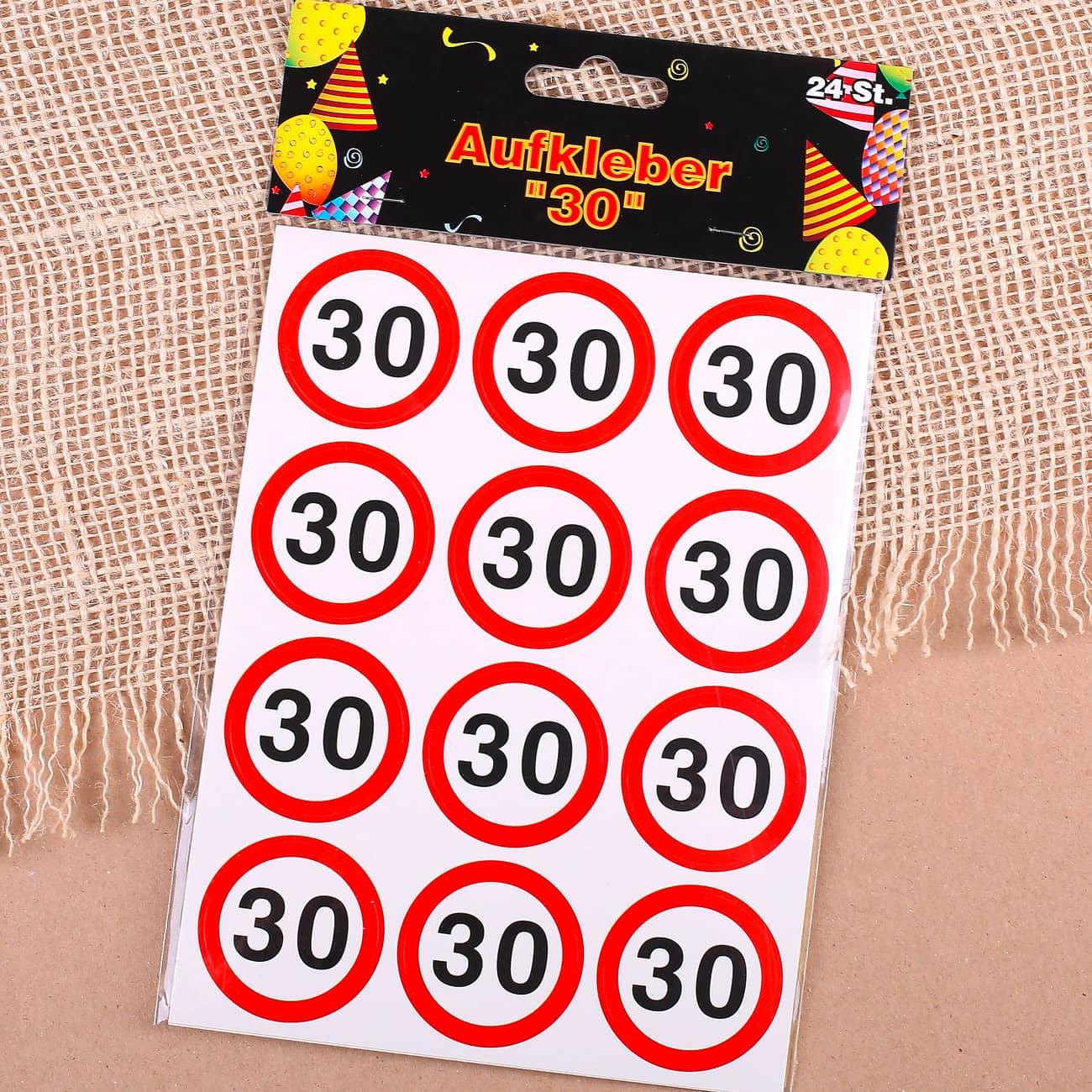 Dekosticker Verkehrszeichen zum 30. Geburtstag   geschenke