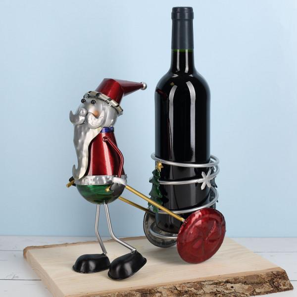 Nützlichküchenaccessoires - Metall Flaschenhalter Weihnachtsmann mit Zugwagen - Onlineshop Geschenke online.de