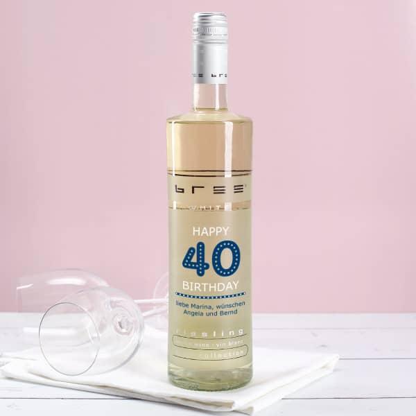 Zum 40. Geburtstag - Weißwein mit individuellem Aufdruck
