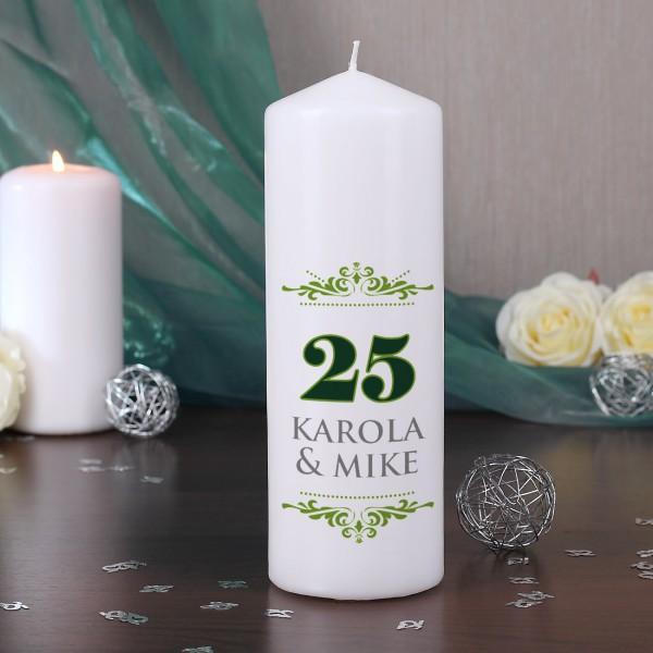 Jubiläumskerze zur Silbernen Hochzeit mit den Namen des Paares