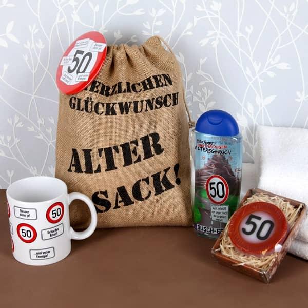 Geschenkset zum 50. Geburtstag im Jutesack