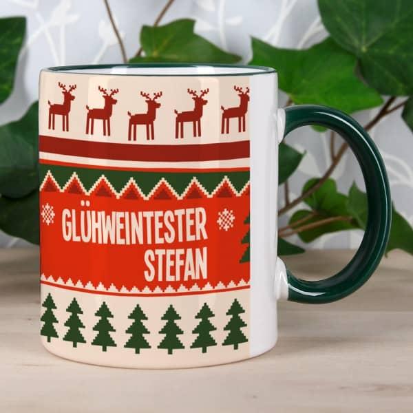 Personalisierte Weihnachtstasse Glühweintester mit Wunschnamen