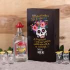 Tequila Geschenk-Set mit 4 gravierten Tequila-Shots in bedruckter Holzkiste mit Tequila Flasche